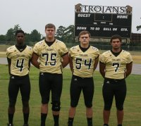 """The Green Sea Floyds High School Trojans, who list only four seniors in speedster running back/defensive back Jamel Swinton, McLean Upchurch a big fullback at 5'11"""", 225, who also plays linebacker, linemen Matt Brown (5'10"""", 235) and the giant in 6'4"""", 250 pound Hunter Morris, the 2013 season begins with a visit from West Brunswick High School from across the border in N.C."""